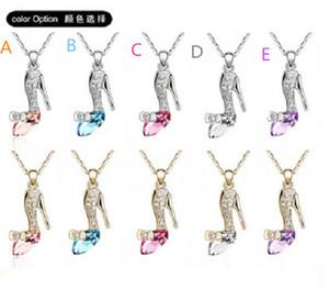 2015 Cinderella Kristall Halsketten geträumt Cindy Kristall Schuhe Anhänger Halskette für Frauen Schmuck Anhänger mit Kette D032401 #