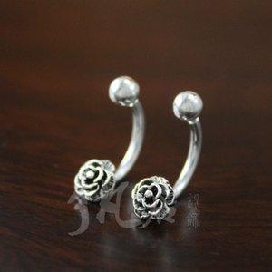 S925 الأقراط الفضية الاسترليني الفضة التايلاندية الورود الأقراط الصغيرة النسخة الكورية من جديد مشبك الأذن