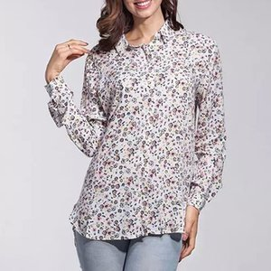shipping free europe 2015 brand women shirts Ladies blouses blusas femininas floral printed shirt leisure slim tops plusm8031