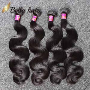 9A brasileñas del pelo humano teje del pelo Bundles cuerpo de las extensiones del pelo de la onda teje la trama barato Malasia india peruana trama doble 4PZA Bellahair