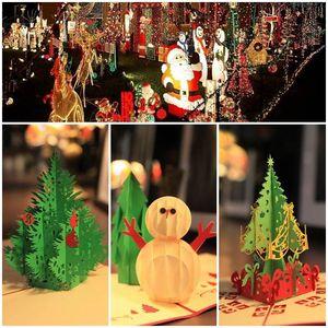 Créatif Kirigami Origami 3D Pop Up Greeting Gift Cartes de Noël avec des cadeaux de sapin de Noël