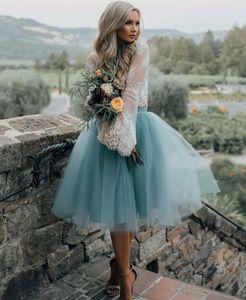 화이트 블루 칵테일 드레스 긴 소매 저렴한 파티 아랍어 여성 레이스 얇은 명주 그물 짧은 댄스 파티 드레스 중동 두 조각 파티 가운