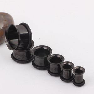 Aço inoxidável preto Único Flare Flesh Tunnel F21 Mix 3-14mm 200 pçs / lote Ear plugs Piercing jóias