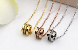 Nueva versión coreana de los tres anillos CNC micro-collar de marea de moda salvaje titanio sección corta con cadena de clavícula de diamante