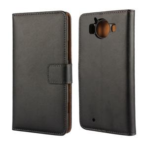 Wholesale Alta Qualidade Genuine Leather Case Capa Da Carteira Para Microsoft Lumia 950 com Estilo Livro Stand e Titular do Cartão Caso Capa Do Telefone
