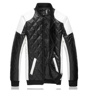 Erkekler Yakışıklı rüzgar geçirmez su geçirmez deri ceket Fly butik Lüks moda marka Elmas kafes Serin dikiş motosiklet caot