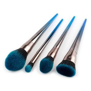 4 pçs / set Escova De Maquiagem De Diamante De Prata Azul Lidar Com Pó Foundation Blush Blush BB Cream Sombra Delineador Sobrancelha Make up Brushes Set