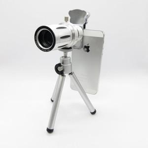 Cat Clip Metal 12X Universal Zoom óptico Telescopio Cámara teleobjetivo Lente con trípode teléfono móvil len Envío gratis