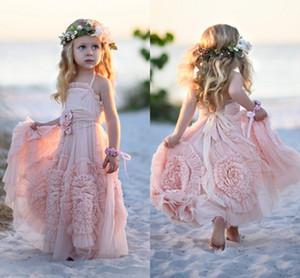Pembe Çiçek Kız Düğün Dantel Aplikler Ruffles Çocuklar için Elbiseler Resmi Giyim Kolsuz Long Beach Kız Yarışması Abiye