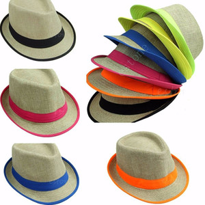 Al por mayor-verano para mujer de neón de los hombres de Fedora Trilby Sun Cap Straw Sombrero de playa Sombrilla