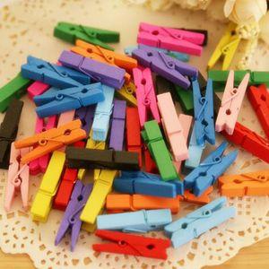 500 Pcs / Lot Coloré Bouleau Bois Vêtements Pins Mini Taille 10 Couleurs Photo Clips De Mariage Décoration VêtementsPins En Gros