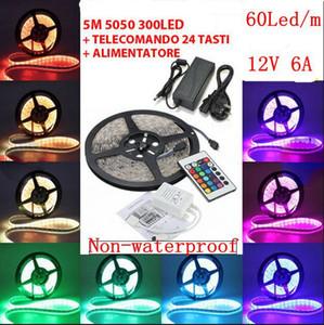 5m RGB 5050 SMD 12V 유연한 조명 60 led / m 5050 비 방수 LED 스트립 테이프 24 키 IR 리모컨 + 6A 변압기, dandys
