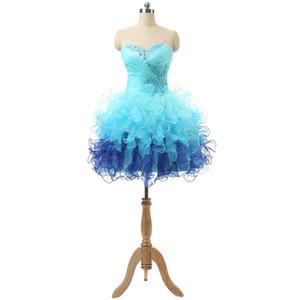 Cravatta accattivante 8 ° grado Laurea / Homecoming Prom Dresses Sweetheart Beaded Ruffles Organza Mini Junior economici Club Party Dress