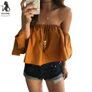 Al por mayor-Feitong Off hombro Blusa superior recortada para mujer sin mangas camisa Solid Ruffle Blusa Mujer Tops Chemises Femme Camisas Mujer