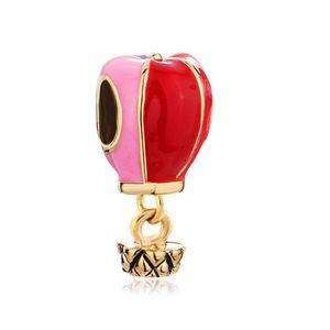 Golden Hot Balloon Colorido Gota Gota queda estilo Europeu dangle talão encantos da sorte infantil Serve Pulseira charme Pandora