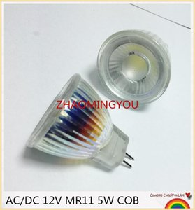 YON 1PCS New Arrival MR11 COB Led Spotlight Glass Body GU4 Lamp Light AC DC 12V MR11 5W LED Bulb Warm White   white