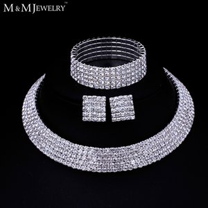 Wholesale-Clear Austrian Crystal Silver Plated Jewelry Sets Round Necklace Earrings Bracelet for Women Wedding Accessory TL294+SL090