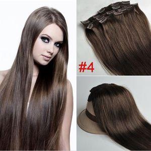 """ELIBESS 14 """"16"""" 18 """"20"""" 22 """"Premium Quality 7pcs 70g set clip estensioni dei capelli umani in 4 # medio marrone testa piena di alta qualità"""