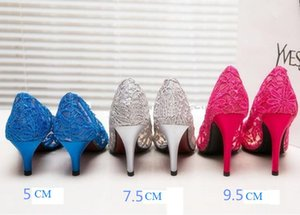 Wedding High Cutout Mouth Fabric Size 33 Women Heel Lace Satin Shallow Shoes Leather Sexy Pumps Toe Genuine 2021 Bride Pointed Ifved