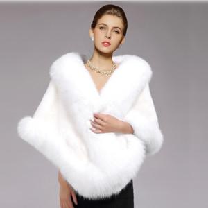 Beyaz Gelin Sarar Kış Düğün Coat Yumuşak Faux Fur Sıcak şallar Giyim Siyah Gary Bordo Beyaz Kırmızı Kadın Ceket Balo Akşam