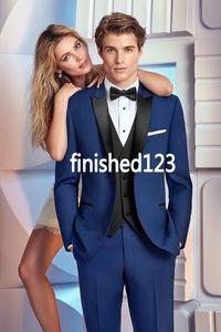 New Design One Button Blue Groom Tuxedos Groomsmen Best Man Suits Mens Wedding Blazer Suits (Jacket+Pants+Vest+Tie) NO:632