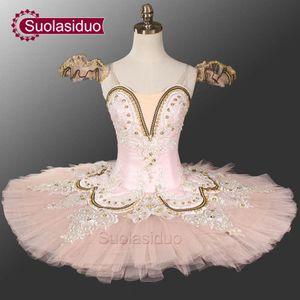 Adulto rosa Tutu Ballet profesional etapa Dancewear azul y blanco traje de rendimiento de ballet clásico personalizado SD0028