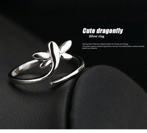 Free shipping ring dragongfly single open design new girl woman ring gift