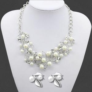 2016 Fashion Western Leaf tipo di collana di perle orecchini gioielli donna maglione di cristallo strass collana catena regalo di nozze