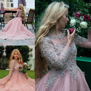Abito arabo musulmano Dubai rosa applique in rilievo Prom Dress maniche lunghe Abito da sera morbido Tulle Sheer Illusion Prom Dress