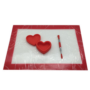 "طقم سيليكون Dab مع 11.81 * 8.27 ""Mat6 17ml 26ml Bee Heart Container Metal Dabber Tool Wax Set"
