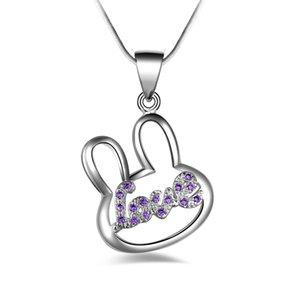 Silberner Kaninchen der freien Verschiffenart und weisehohen qualität 925 mit purpurroten Diamantschmucksachen 925 silberne Halskette Valentinstagfeiertagsgeschenke Heißes 1678