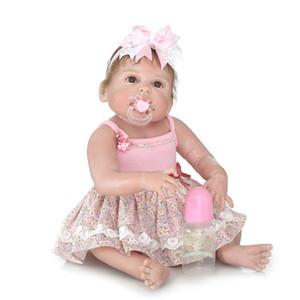 Venda por atacado - Adorável Weighted 23 polegadas 57 centímetros de corpo inteiro de silicone macio Vinyl Reborn Baby Girl Doll Criança Bonecas Recém-nascidos realistas que parecem reais