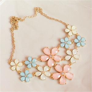 collar para mujer elegante helado dulce azul rosa flor de cristal amarilla gema enrejado collar de verano necklacependant S908983