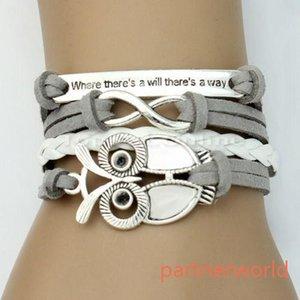 NUOVO arrivato braccialetti di fascino infinity fai da te gioielli in pelle moda braccialetti infinito carino argento stile braccialetti di cuoio gufi stely hot