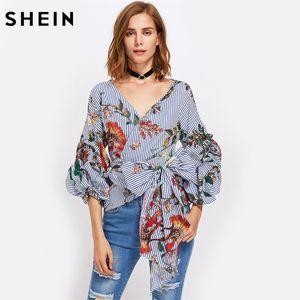 Vente en gros- SHEIN Gathered Manches Imprimé Surplis Wrap Top Trois-quarts de longueur manches bouffantes col V rayé Floral Blouse