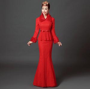 Spedizione gratuita cinese cheongsam sirena qipao cinese abito da sposa abito da sera vintage slim coda di pesce matrimonio orientale top + dress qp622