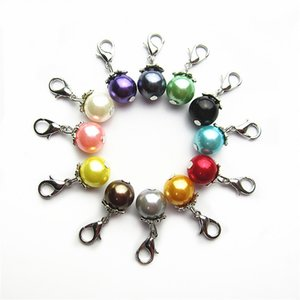 120 adet Mix 12 Renk 10mm boncuk İnci charms Dangle Charms DIY Bilezikler Takı Aksesuar Makrogözenekli boncuk Charms istakoz kapat charm
