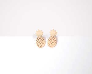 Fashion pineapple stud earrings, personality fruit stud earrings hand dull surface stud earrings wholesale free shipping