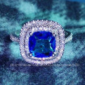 Lusso Dimensione 6-10 gioielli di cristallo Swarovski argento pieno di donne di nozze della signora 925 regalo Anello di fidanzamento con box