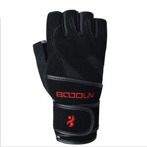 Guanti da fitness in pelle nera da polso in vera pelle uomini donne traspirante Sport allenamento sollevamento pesi guanti senza dita spedizione gratuita