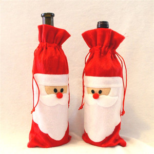 2016 Santa Claus Christmas Gift Bag Xmas Red Wine Bottle Bags Christmas Decorations Festive & Party Supplies 10pcs lot Free Shipping MYF276
