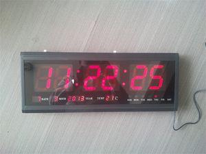 HT4819SM-3, trasporto libero, grande orologio di parete di alluminio del LED Digital, grande orologio design moderno, orologio digitale! Calendario elettronico a led