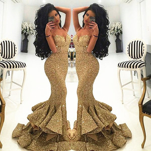 Oro sexy sirena lunga dei vestiti da sera senza spalline tromba Prom Dresses paillettes Lusso Donne partito abiti Vestidos