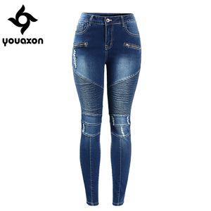 Wholesale-2077 Youaxon Kadınlar Motosiklet Biker Zip Orta Yüksek Bel Streç Skinny Pantolon Motor Kadınlar Için Kot