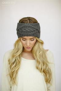 Mulheres Crochet Outono Inverno Quente Tricô Headbands Faixas de Cabelo Chapéu Moda headbands ampla headwrap inverno acessórios para o cabelo Aquecedor de ouvido WHA55