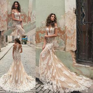 Berta 2019 Illusione di Champagne della sirena abiti da sposa Neck White Lace appliquéd maniche corte Corte dei treni Abiti da sposa