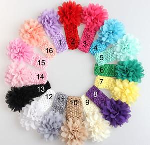 50 adet bebek Şapkalar Başkanı Çiçek Saç Aksesuarları yumuşak Elastik tığ saç bantlarında esnek saç bandı GZ7409 ile 4 inç şifon çiçek