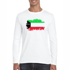 Kuwait Nostalgic National Flag T Shirt Uomo Kuwait Patriot Fans Cheer T-shirt Manica lunga Casual Swag Abbigliamento uomo