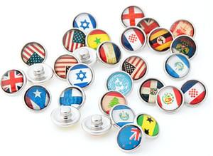 Bandera de país diferente bricolaje botón a presión botón a presión de 12 mm jelwery apto para pulsera estilo de mezcla de vidrio botón noosa botón acceesories de moda
