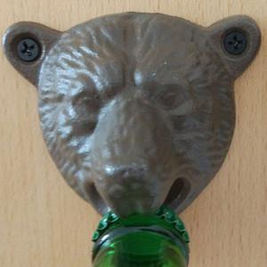 Saca-rolhas Montado Na parede Retro Tipo Fixo Cabeça Do Urso Ferro Fundido Abridor De Garrafas De Cerveja Ferramenta de Cozinha Bar Preto 7lj C